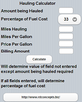 Hauling Calculator for iPhone, iPad, Android